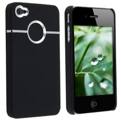 Black/ Chrome Hole Rubber Coated Case for Apple iPhone 4