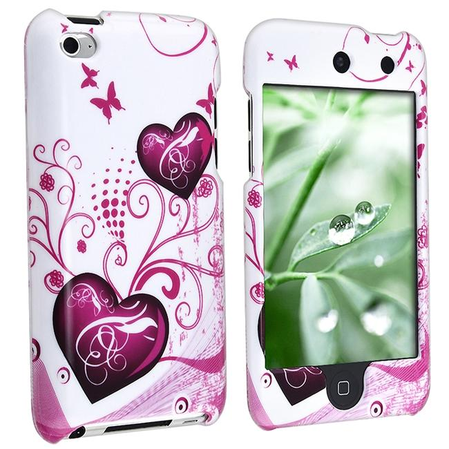 INSTEN White with Pink Heart iPod Case Cover for Apple iPod touch 4th Gen