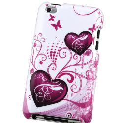 White with Pink Heart Case for Apple iPod touch 4th Gen