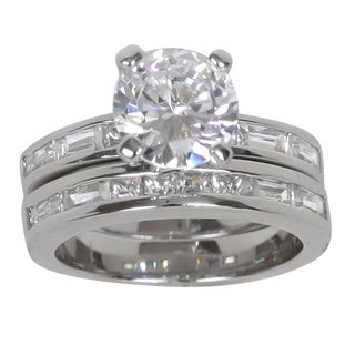 NEXTE Jewelry Silvertone Clear Cubic Zirconia Bridal-style Ring Set