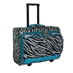 American Flyer Teal Zebra 17-inch Rolling Carry-on Tote