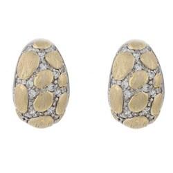 La Preciosa Sterling Silver Two-tone Cubic Zirconia Puffed Earrings