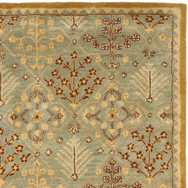 Handmade Tree of Life Slate Blue Wool Rug (6' x 9')