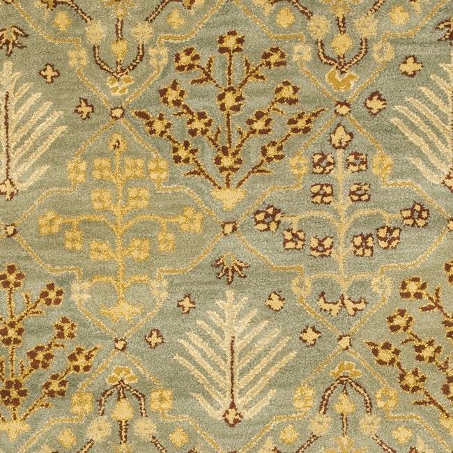 Handmade Tree of Life Slate Blue Wool Rug (6' Square)