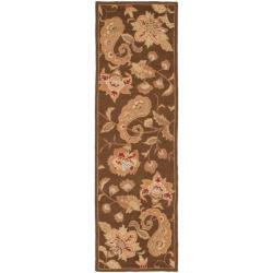Handmade Paisley Brown Wool Runner (2'6 x 12')