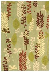 Handmade Ferns Light Green Wool Rug (6' x 9')
