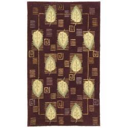 Handmade Foliage Violet Wool Rug (3'9 x 5'9)