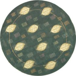 Safavieh Handmade Foliage Blue Wool Rug (3' Round)