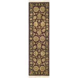 Safavieh Handmade Heirloom Burgundy/ Black Wool Runner (2'3 x 12')