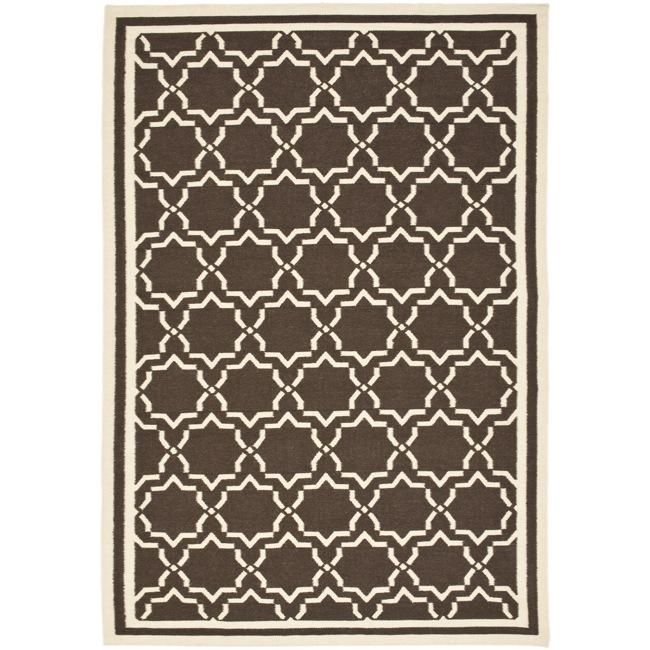 Safavieh Hand-woven Moroccan Reversible Dhurrie Chocolate/ Ivory Wool Rug (3' x 5')
