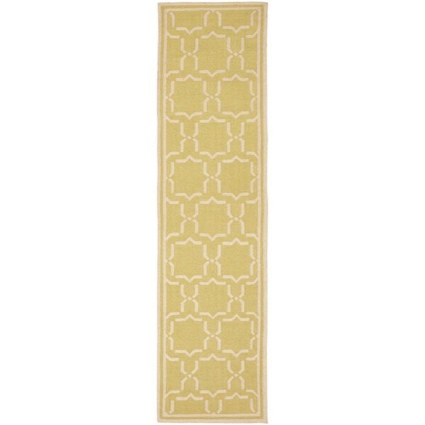 Safavieh Hand-woven Moroccan Reversible Dhurrie Green/ Ivory Wool Runner (2'6 x 12')