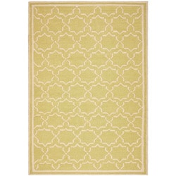 Safavieh Hand-woven Moroccan Reversible Dhurrie Green/ Ivory Wool Rug (4' x 6')
