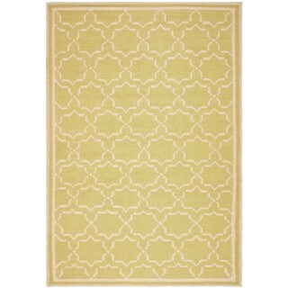 Safavieh Hand-woven Moroccan Reversible Dhurrie Green/ Ivory Wool Rug (6' x 9')