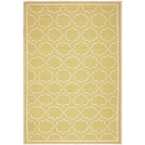 Safavieh Hand-woven Moroccan Reversible Dhurrie Green/ Ivory Wool Rug (8' x 10')