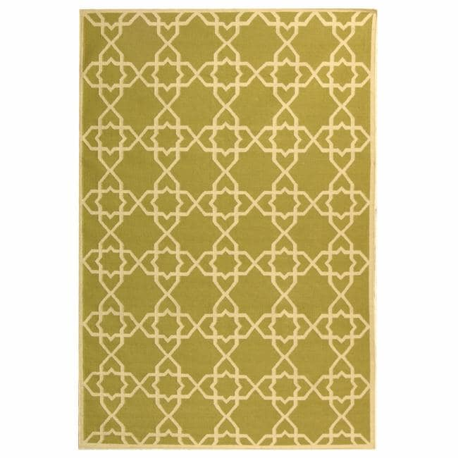 Safavieh Handwoven Moroccan Reversible Dhurrie Transitional Green/ Ivory Wool Rug (4' x 6')