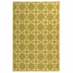 Safavieh Handwoven Moroccan Reversible Dhurrie Green/ Ivory Geometric Wool Rug (8' x 10')