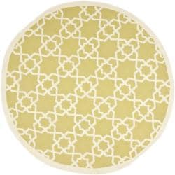 Safavieh Hand-woven Moroccan Reversible Dhurrie Green/ Ivory Wool Rug (8' Round)