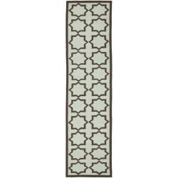 Safavieh Hand-woven Moroccan Dhurrie Light Blue/ Chocolate Wool Runner (2'6 x 12')