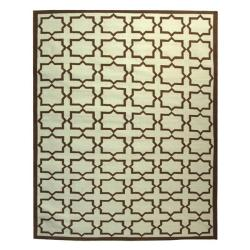Safavieh Hand-woven Moroccan Reversible Dhurrie Light Blue/ Chocolate Wool Rug (8' x 10')