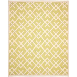 Safavieh Handwoven Moroccan Dhurrie Light Green/ Ivory Wool Area Rug (4' x 6')