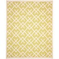 Safavieh Hand-woven Moroccan Dhurrie Light Green/ Chocolate Wool Rug (6' x 9')