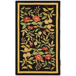 Safavieh Hand-hooked Trellis Black/ Beige Polypropylene Rug (3' x 5')