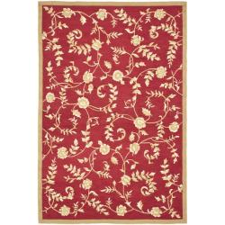 Safavieh Hand-hooked Trellis Red/ Gold Polypropylene Rug (6' x 9')