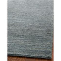 Loomed Knotted Himalayan Solid Blue Wool Rug (6' Square)