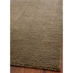 Loomed Knotted Himalayan Solid Brown Wool Rug (6' Square)