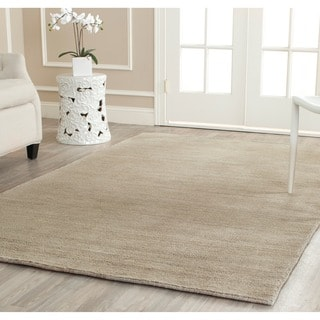Safavieh Loomed Knotted Himalayan Solid Grey Wool Rug (6' Square)