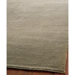 Loomed Knotted Himalayan Solid Grey Wool Rug (8' x 10')