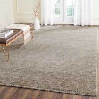 Safavieh Loomed Knotted Himalayan Solid Grey Wool Rug (8' x 10')