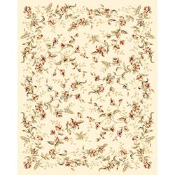 Lyndhurst Collection Floral Beige Rug (9' x 12')
