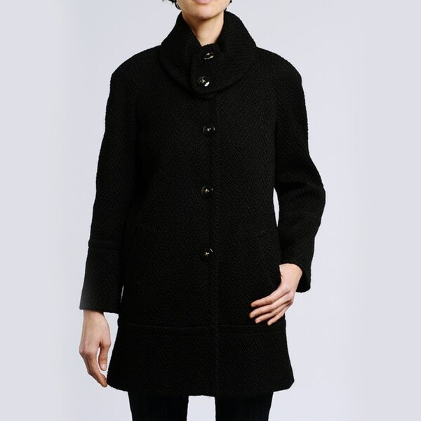 Larry Levine Women's Plus Size Tweed Herringbone Coat