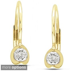 Miadora 10k Yellow Gold 1/4ct TDW Diamond Leverback Earrings (G-H, I2-I3)