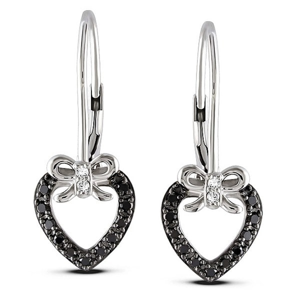 Haylee Jewels Sterling Silver 1/4ct TDW Black and White Diamond Heart Earrings (G-H, I3)
