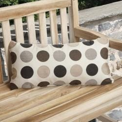 Charisma Indoor/ Outdoor Brown Polka Dot Lumbar Pillow Made with Sunbrella