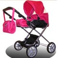 Bassinet Doll Stroller 3-1 Pink/Black