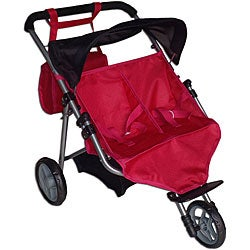 Twin Pink and Black Jogging Doll Stroller