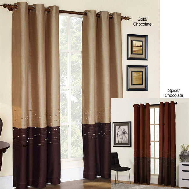 Horizon Embroidery Grommet 84-inch Curtain Panel - 13658644 ...