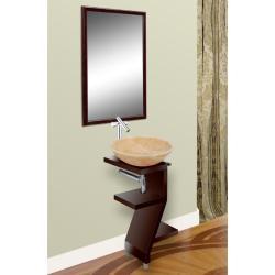 DreamLine Wood Base Powder Room Mahogany Finish Vanity with Mirror