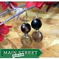 Susen Foster Goldplated 'Bronze Age' Obsidian and Bronzite Earrings
