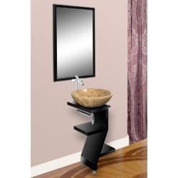 DreamLine Wood Base Petite Powder Room Black Vanity and Mirror