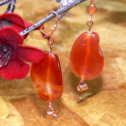 Susen Foster Copperplated 'Saturday Sunshine' Carnelian Earrings