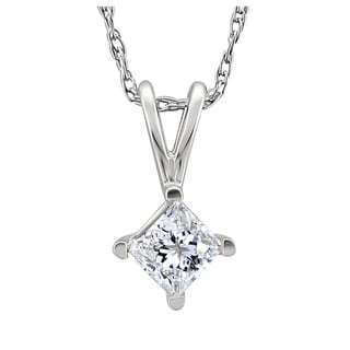 14k White Gold 1/2ct TDW Princess Diamond Solitaire Necklace (I-J, I1-I2)