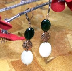 Susen Foster Copperplated 'Day & Night' Obsidian and Jade Earrings