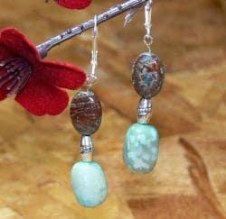 Susen Foster Silverplated 'Japanese Prayers' Jasper and Opal Earrings