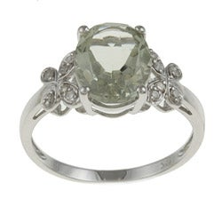 Viducci 10k White Gold Green Amethyst and 1/10ct TDW Diamond Ring (G-H, I1-I2)