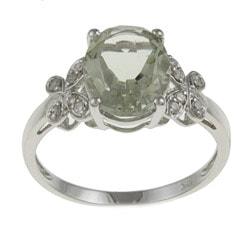 Viducci 10k White Gold Green Amethyst and 1/10ct TDW Diamond Ring (G-H, I1-I2)