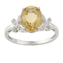 Viducci 10k White Gold Citrine and 1/10ct TDW Diamond Ring (G-H, I1-I2)
